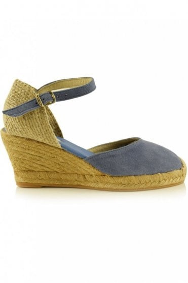 Lloret-5 Suede Wedge Espadrille in Denim