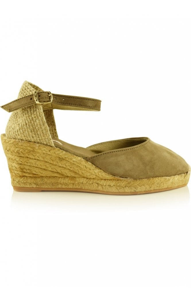 Toni Pons Lloret-5 Suede Wedge Espadrille in Taupe