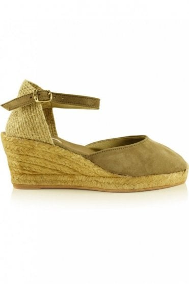 Lloret-5 Suede Wedge Espadrille in Taupe