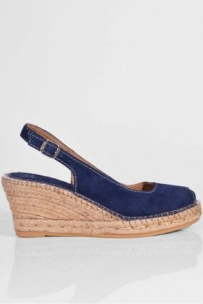 Suede Slingback in Navy