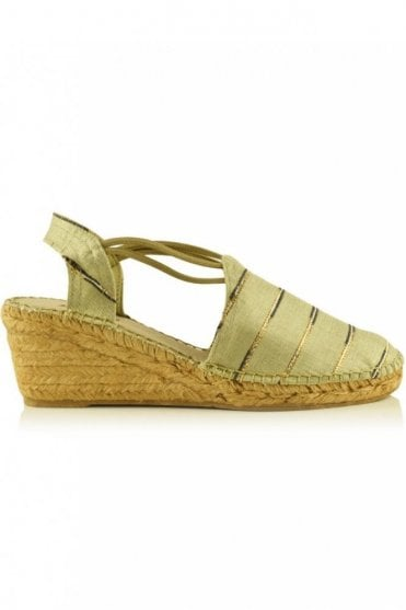 Tarrega Stripe Linen Slingback Wedge Espadrille in Natural