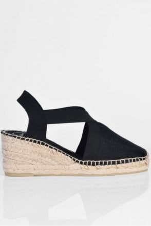 Ter Linen Espadrille Wedge in Black