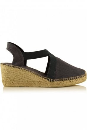 Ter Linen Espadrille Wedge in Grey