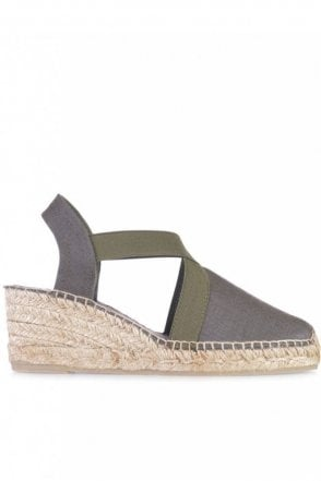 Ter Linen Espadrille Wedge in Khaki