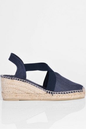 Ter Linen Espadrille Wedge in Navy