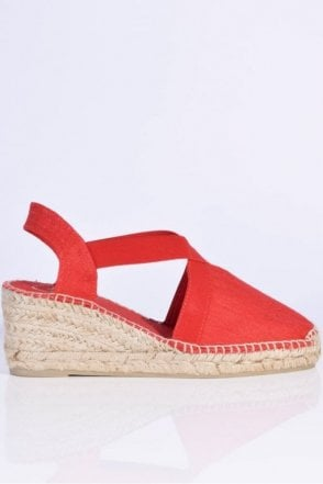 Ter Linen Espadrille Wedge in Red