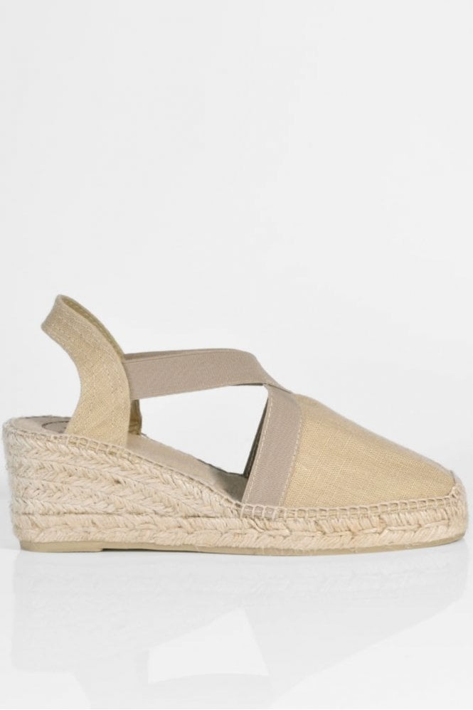 Toni Pons Ter Linen Espadrille Wedge in Stone