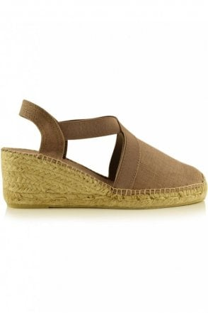 Ter Linen Espadrille Wedge in Taupe