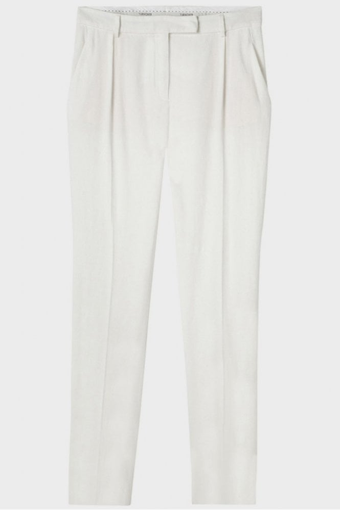 Turnover Cotton Crop Pant in White