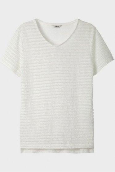 V Neck Top in White
