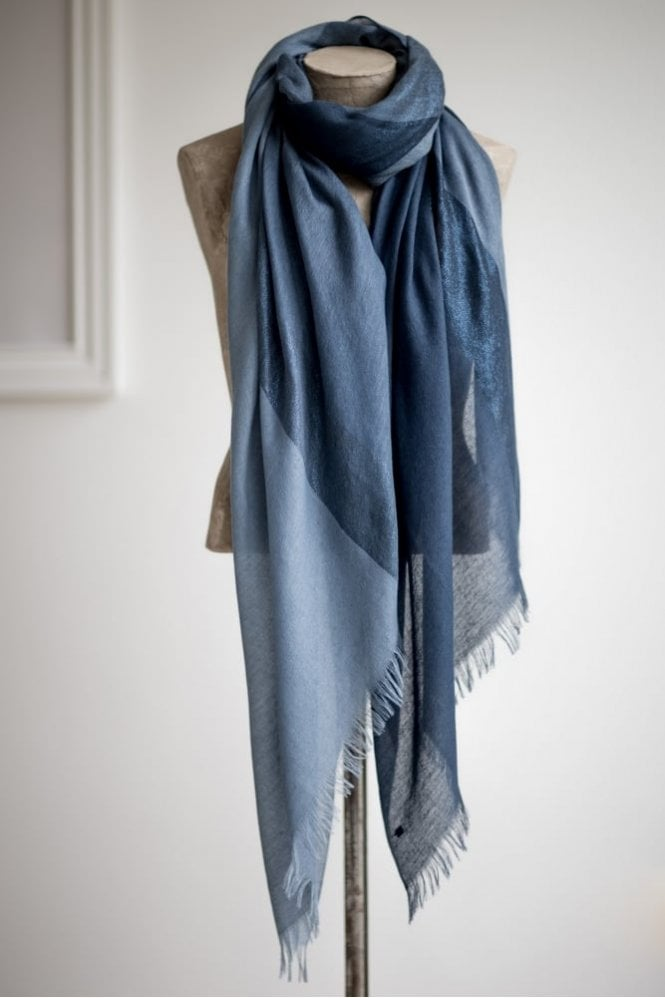 Tutti & Co Blue and Silver Tonal Metallic Scarf