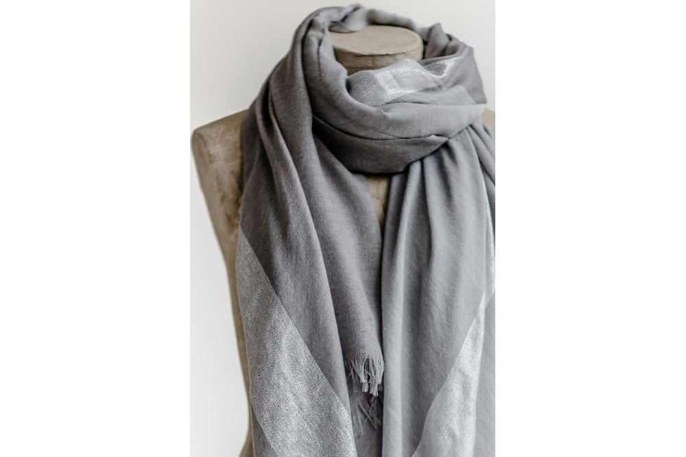 tutti co grey and silver tonal metallic scarf at sue