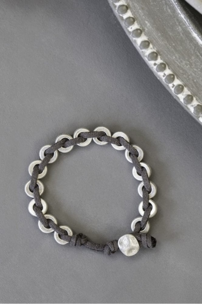 Tutti & Co Silver Suede Plaited Bracelet