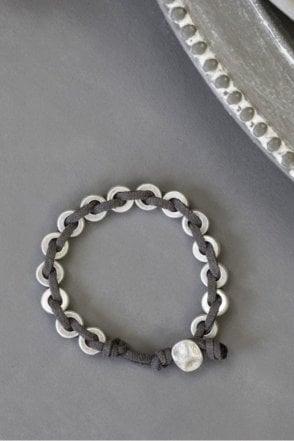 Silver Suede Plaited Bracelet