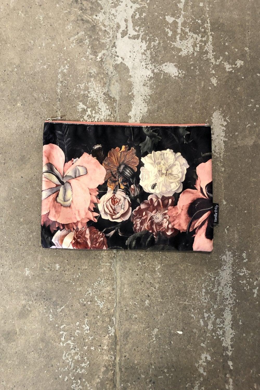 Dark Fl Printed Velvet Makeup Bag