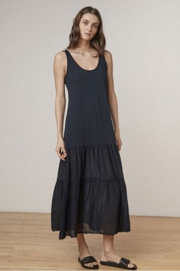 Agnese Cotton Slub Tiered Maxi Dress in Black