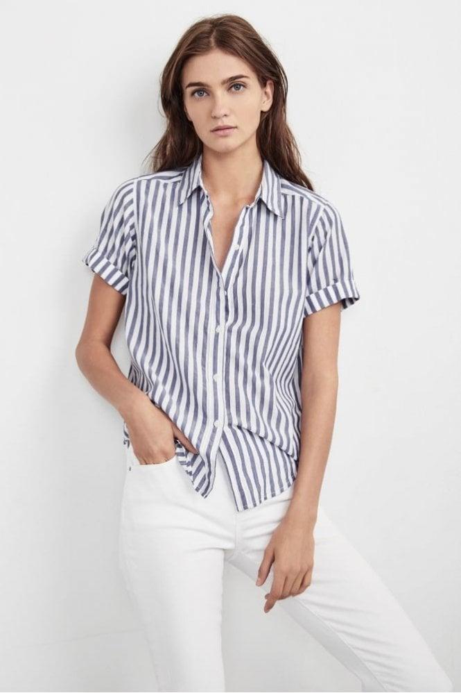 Velvet by Graham & Spencer Alyss Woven Cotton Shirt In Stripe Blue