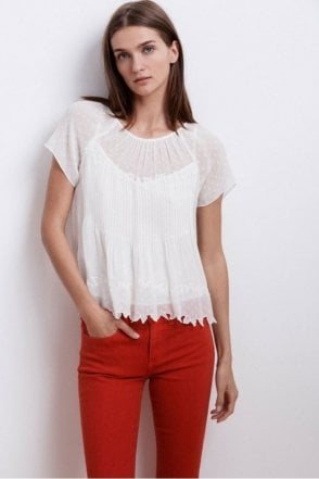 Aniyah Laos Chiffon Pintuck Top in Cream
