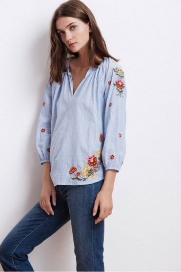 Arabelle Kali Embroidered Chambray Top in Multi