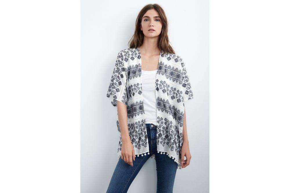 VELVET Araceli Embroidered Cotton Kimono Cardigan in Mutli