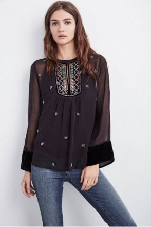 Becky Beaded Velvet Georgette Top in Black