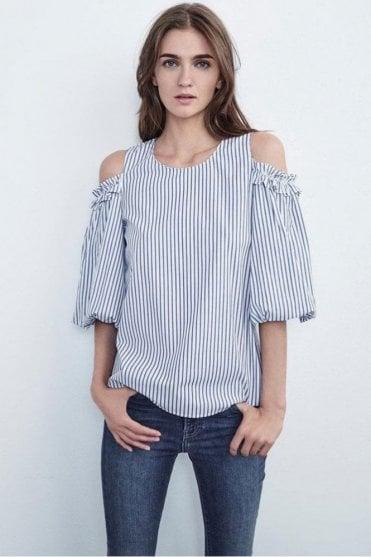 Bruna Cotton Stripe Cold Shoulder Blouse