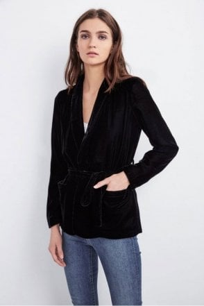 Calla Velvet Smoking Jacket in Black
