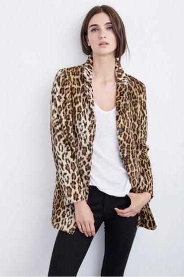 Celine Faux Fur Leopard Coat in Saharan