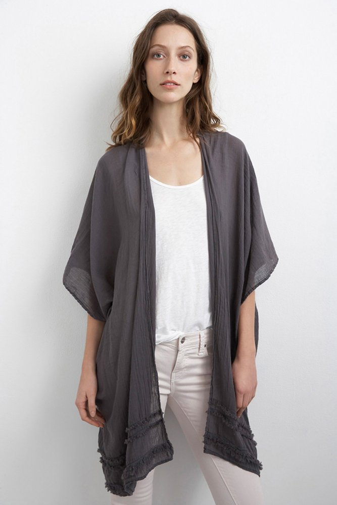 VELVET Chanice Cotton Gauze Kimono Sleeve Cardigan in Raven