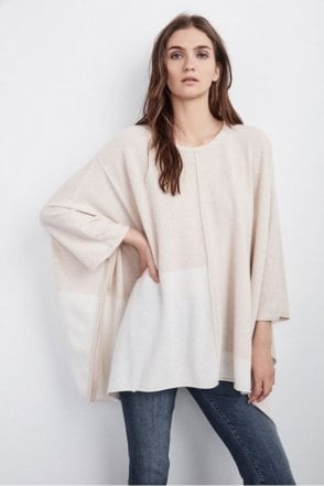 Cristen Colour Block Cashmere Poncho in Bisque