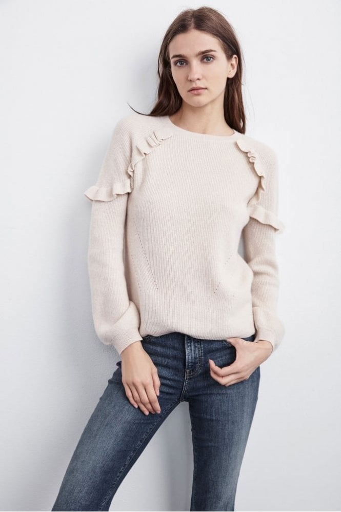 Velvet by Graham & Spencer Dane Ruffle Cashmere Sweater in Bisque