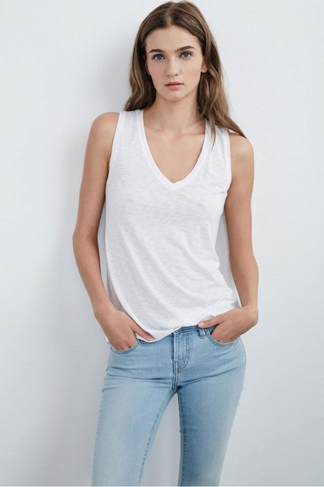 Velvet by Graham & Spencer Daytona Lux Slub V-Neck Tank in White