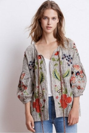 Delfina Stripe Embroidered Tie Cardigan in Multi