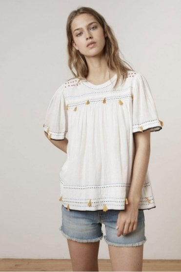 Demy Hand Stitch Gauze Blouse in Off White
