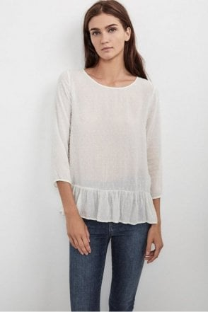 Dori Swiss Dot Ruffle Top in Coconut