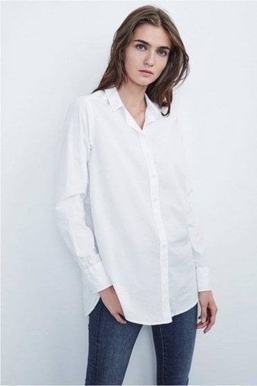 Elsa Cotton Poplin Button Up Shirt in White