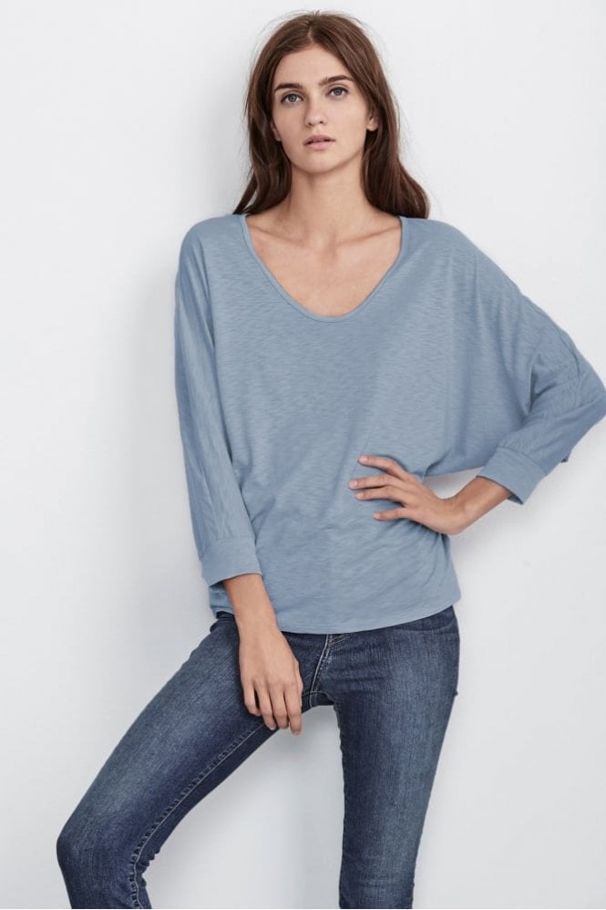 Velvet by Graham & Spencer Ernestine Lux Slub Dolman Tee In Daybreak