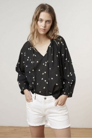 Freya Sheer Print Gauze Blouse in Shasta
