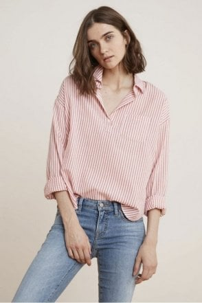 Idona Cotton Stripe Popover Shirt in Pink