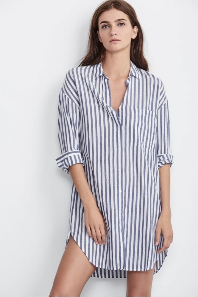 Velvet by Graham & Spencer Ivy Woven Cotton Stripe Dress In Blue