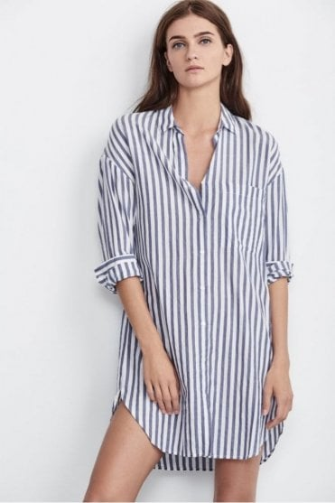 Ivy Woven Cotton Stripe Dress In Blue