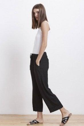 Kora Woven Linen Pant in Black
