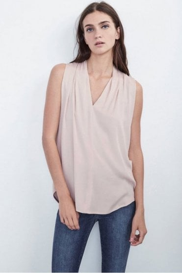 Leslia Stretch Satin Sleeveless Top in Silica