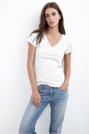 Lilith Cotton Slub V-Neck Tee in White