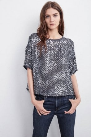 Lynne Sequins Flared Blouse in Gunmetal