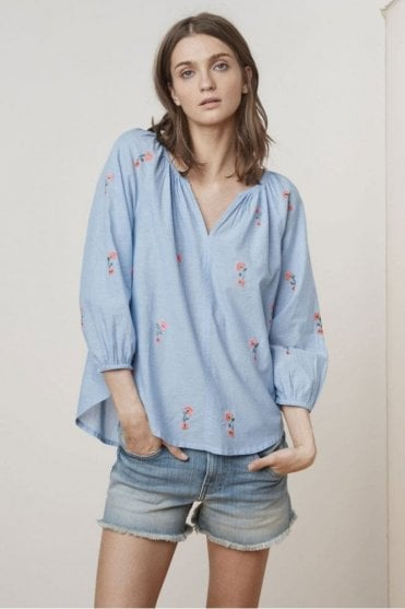 Martha Neon Embroidered Blouse in Chambray
