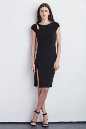 Meredith Cap Sleeve Stretch Jersey Dress in Black