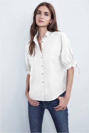 Meryl Cotton Poplin Tie Sleeve Button Up Shirt in White