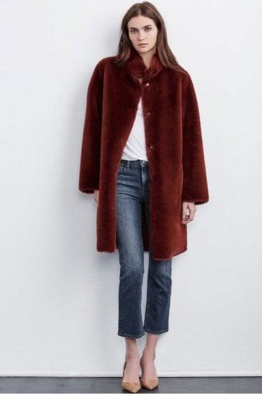 Mina Lux Faux Fur Reversible Jacket in Wine