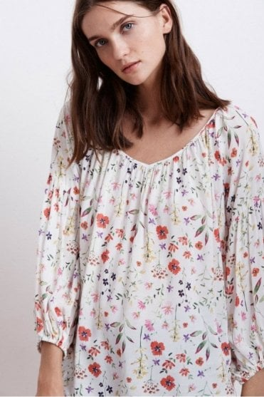 Molina Spring Floral Challis Peasant Blouse in Somerset